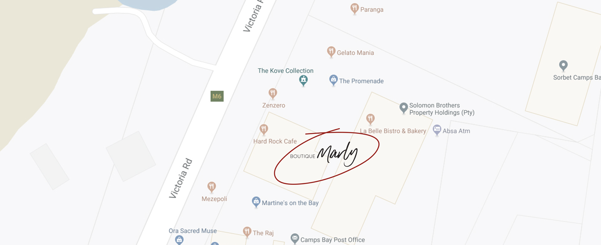Map - The Marly Spa, Camps Bay, Cape Town