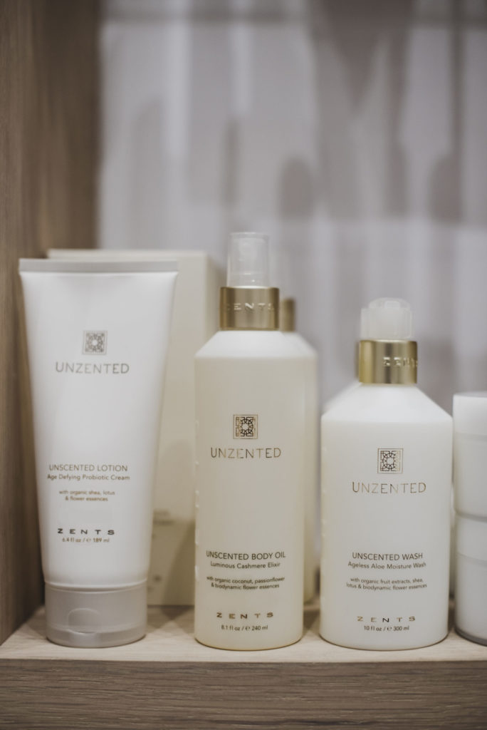 Unzented product display at The Marly Spa in Camps Bay, Cape Town
